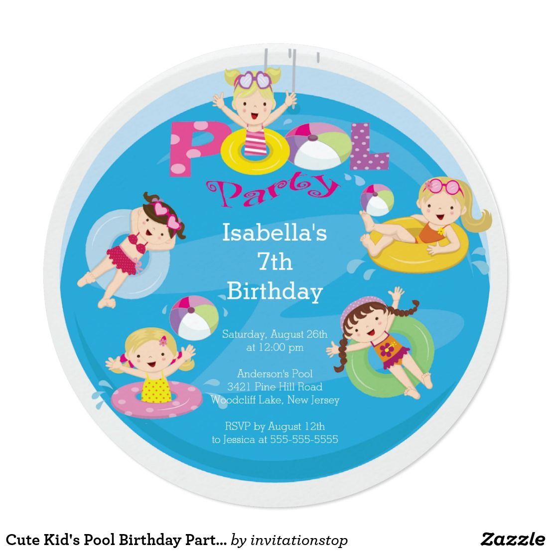 Cute Kid\'s Pool Birthday Party Invitation | Party invitations, Kids ...
