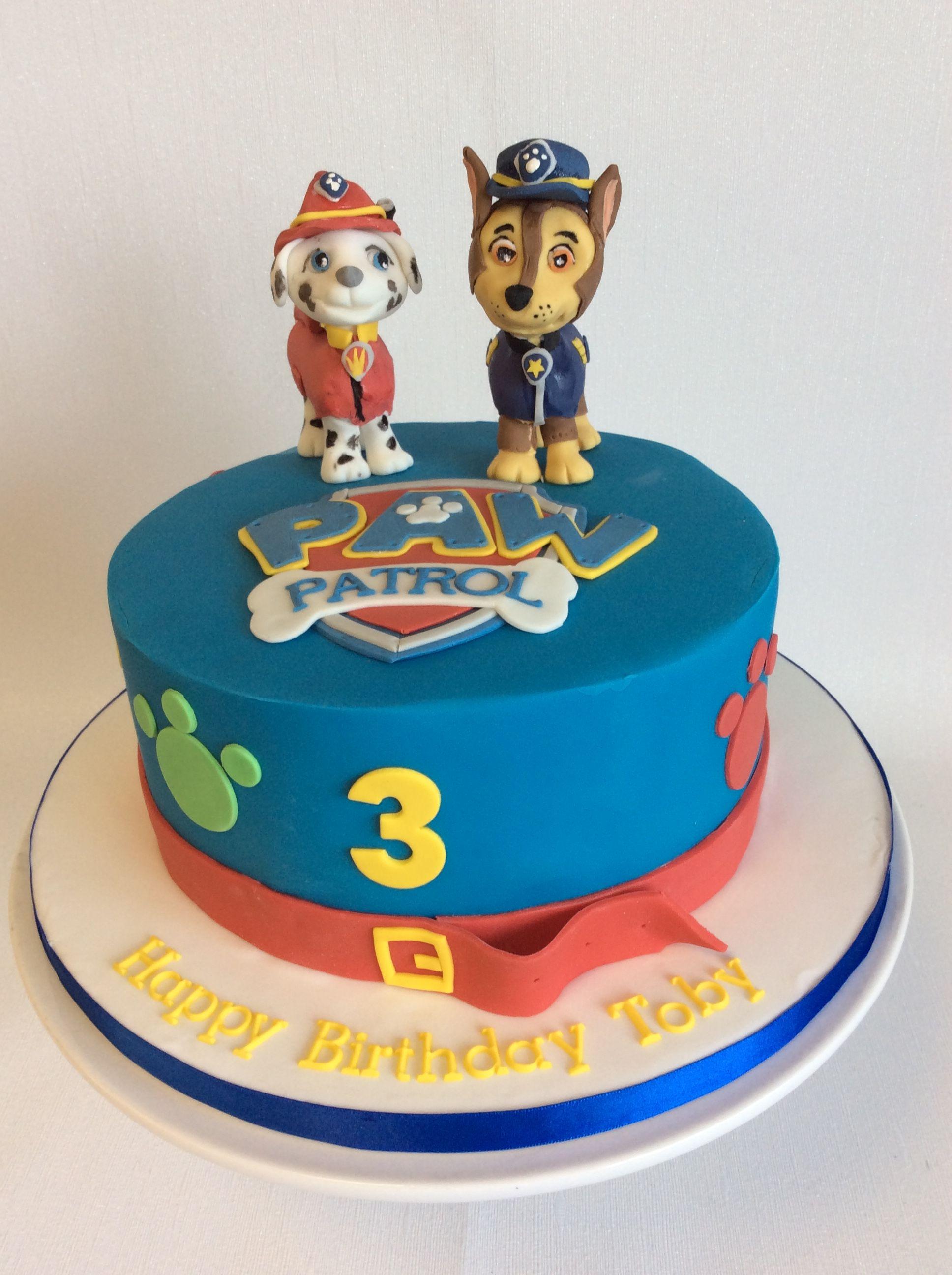 Simple Paw Patrol Theme Birthday Cake With Handmade