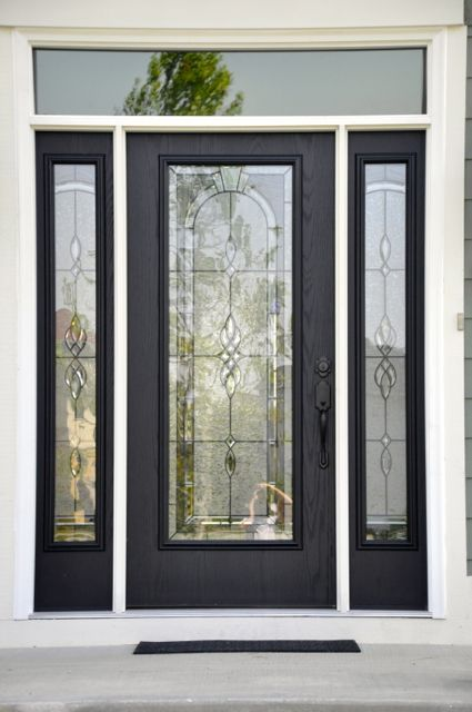 Classic Black And White Front Door With Etched Glass Inset House