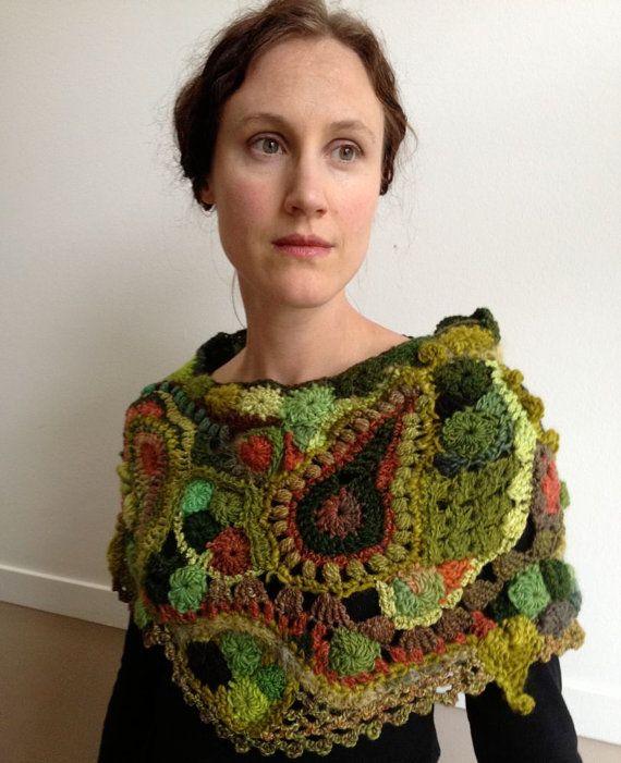Capelet in Freeform Crochet Medieval by 2SistersStringworks, $380.00