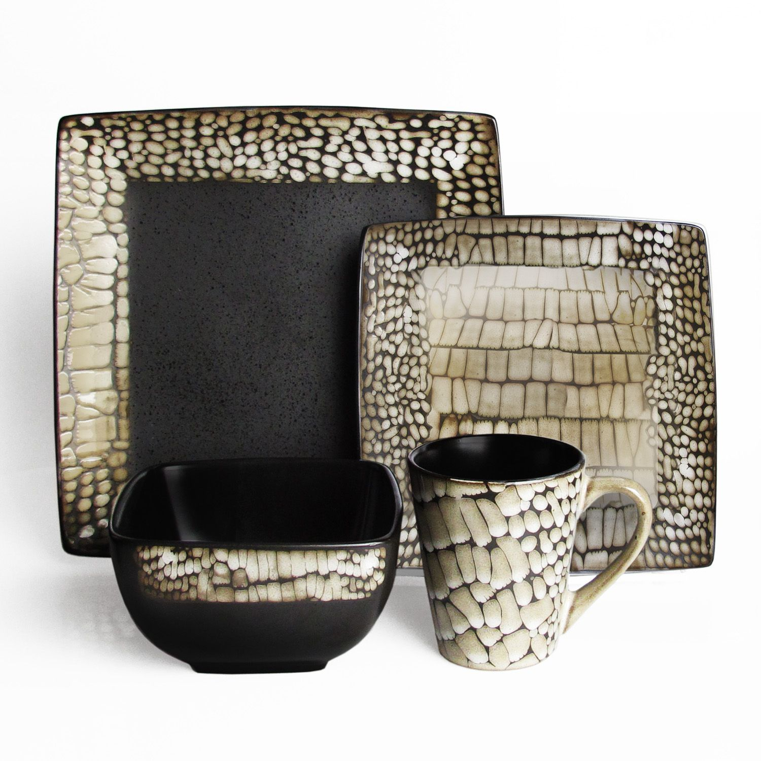 Enjoy this reactive glazed 16 pc dinner set from American Atelier. Known for it's fashion forward designs and quality craftsmanship, The Boa White American Atelier set will do wonders for all your casual dinnerware needs.