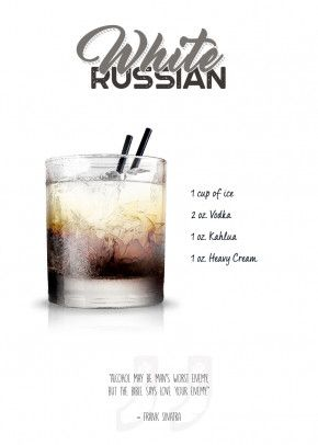 'Cocktail - White Russian with...' Metal Poster Pr