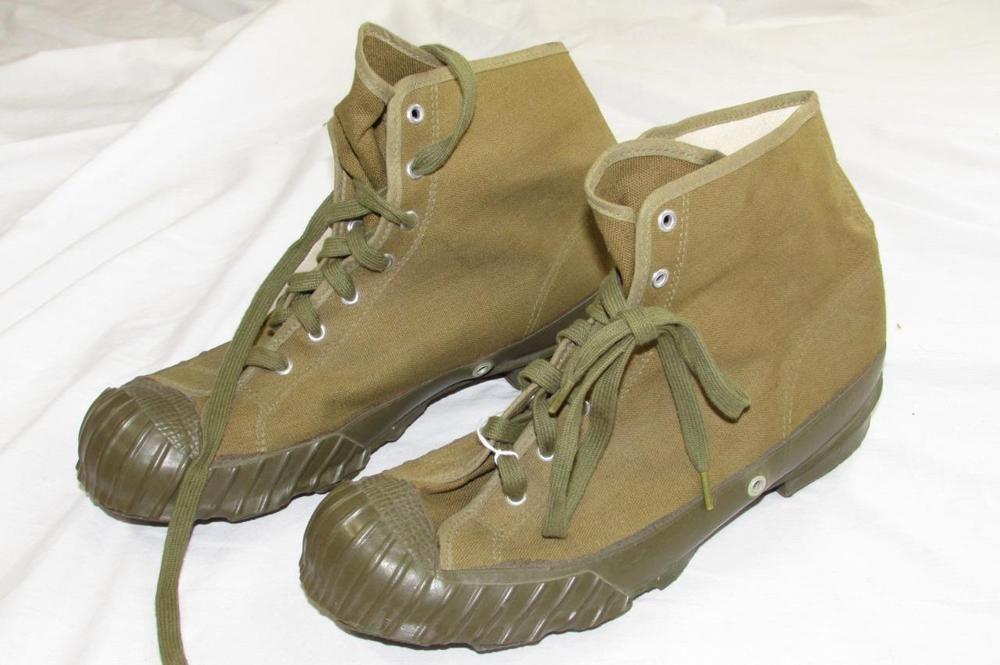 Vtg 40s 50s US Military Canvas Shoes US