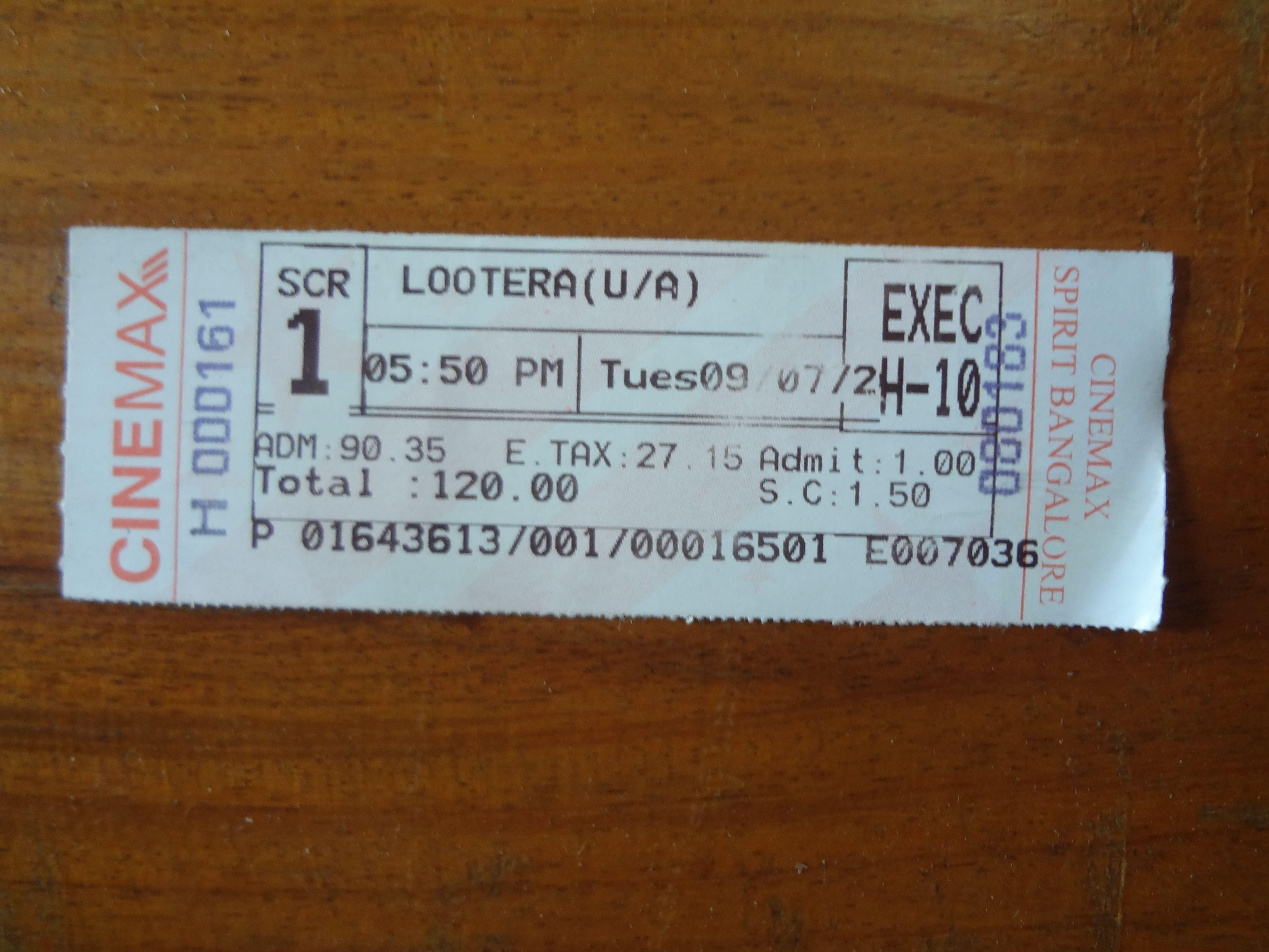 Movie ticket of Lootera (Hindi Movie) at CineMAX, Bangalore