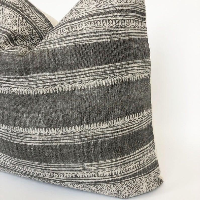Grey Boho Pillow | Designer Pillow Cover | High End Pillow | Grey Designer Fabric | 12x48 Bed Pillow | No6001