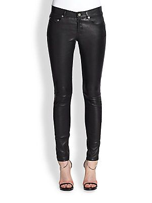Saint Laurent Faux Leather Five-Pocket Pants  a121e83c3