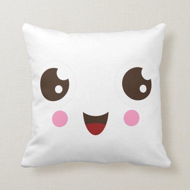 Cute kawaii cartoon face custom pillow