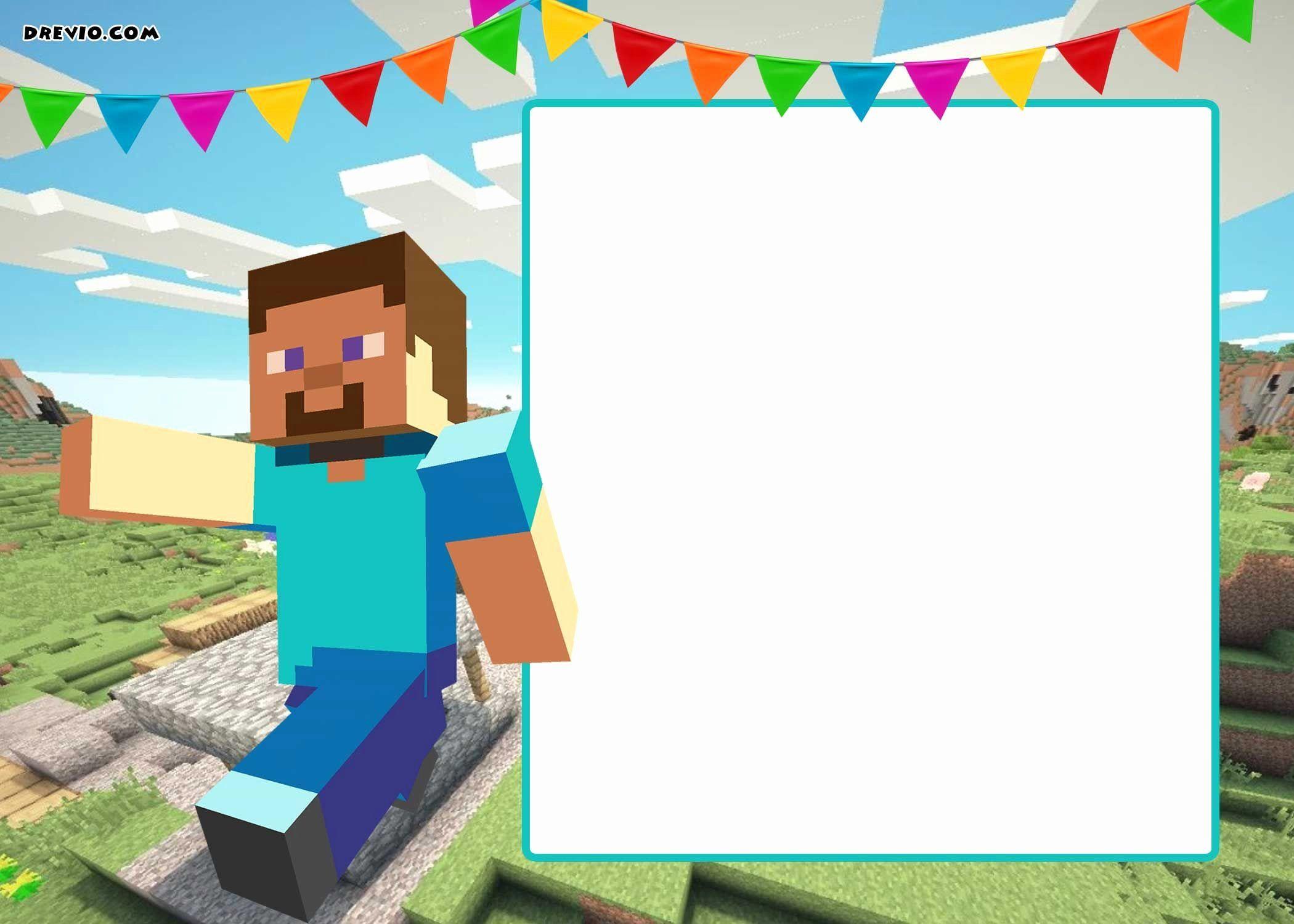 Minecraft Birthday Invite Template Elegant Free Printable Minecraft Birthday Minecraft Birthday Card Minecraft Party Invitations Minecraft Birthday Invitations