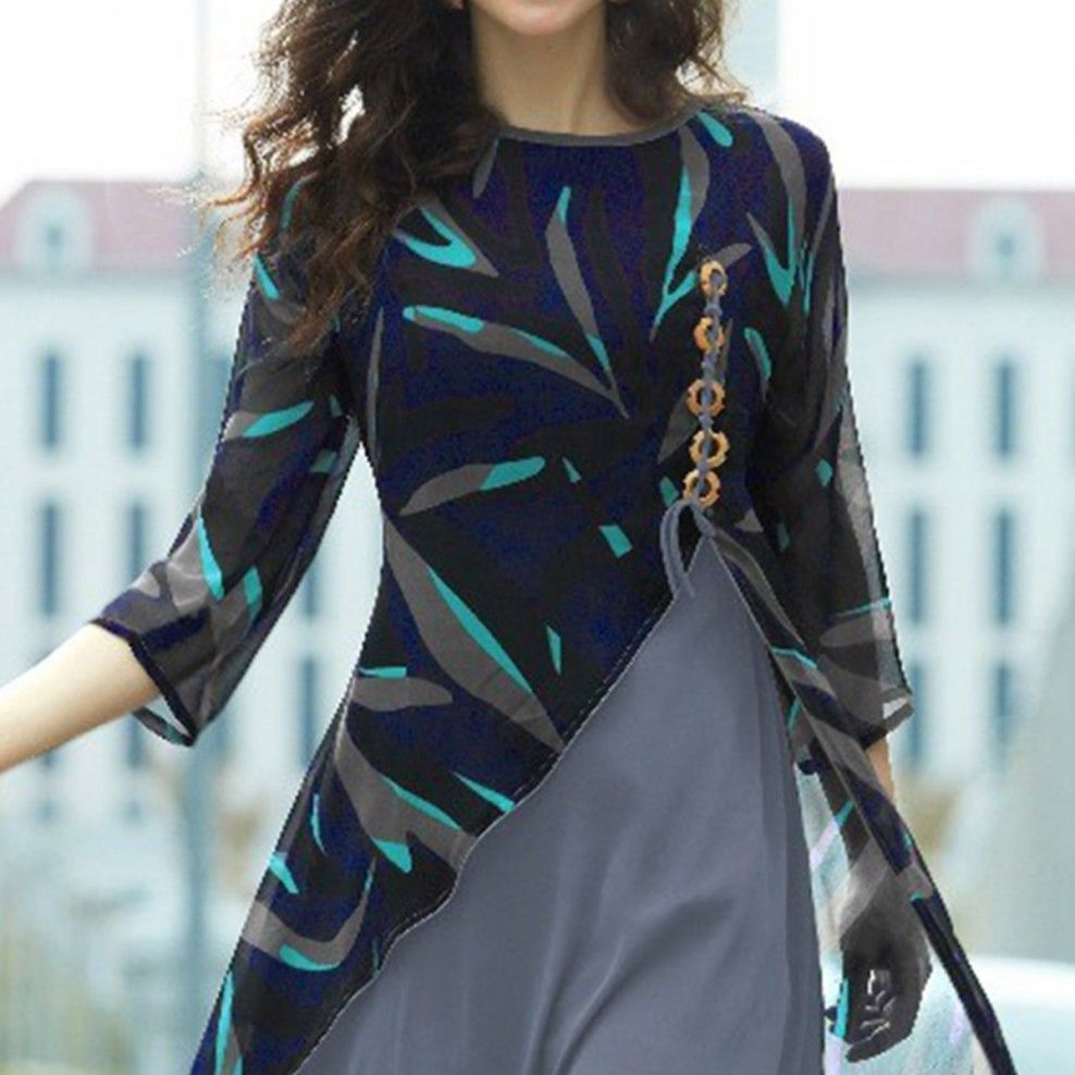 blue  grey layered georgette kurti  western dresses for