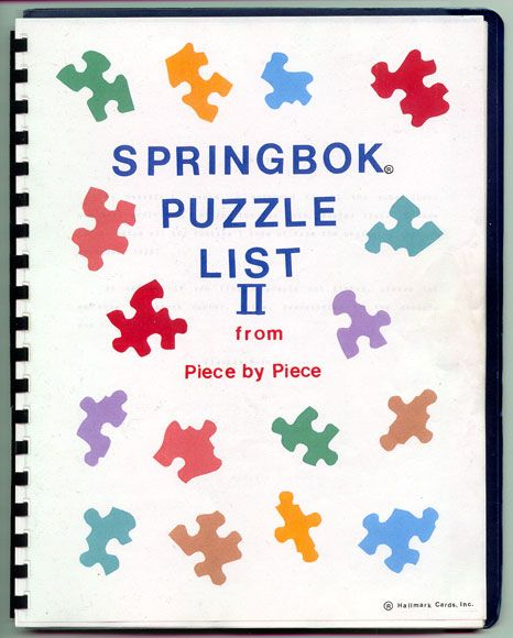 The Springbok Puzzle list is now available by email.