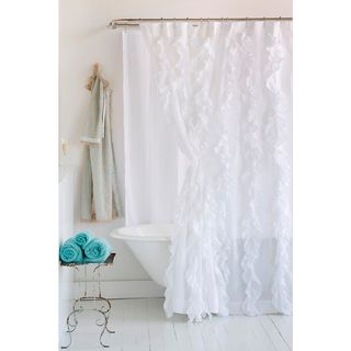Tuxedo White Ruffled Cotton Shower Curtain   Overstock.com Shopping   Great  Deals On Cottage