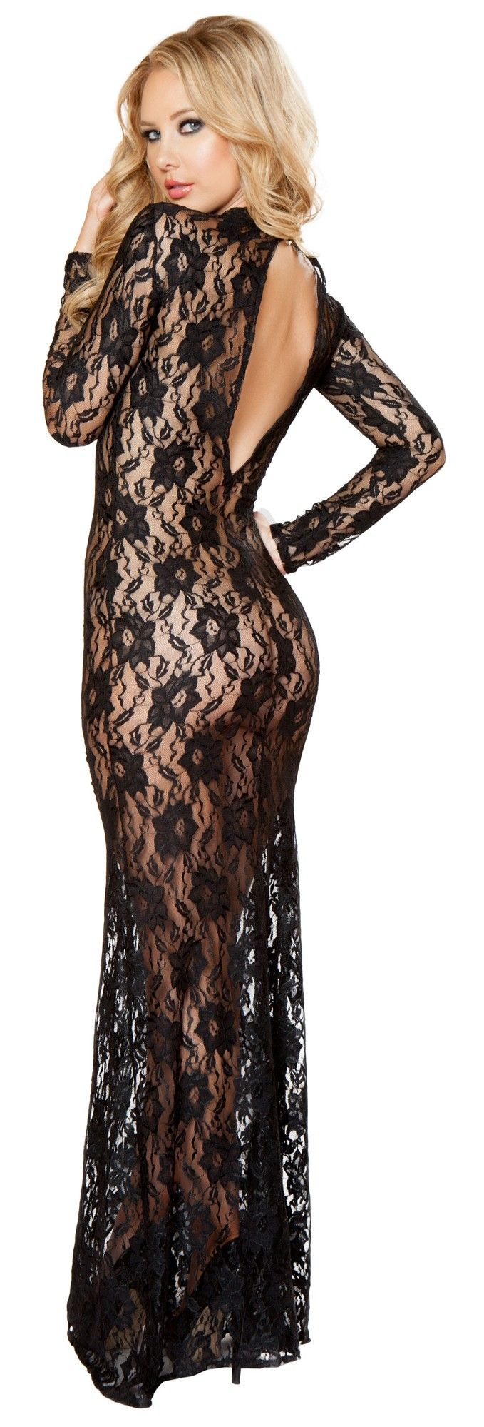 Open back lace lingerie dress rmli back beautiful gowns