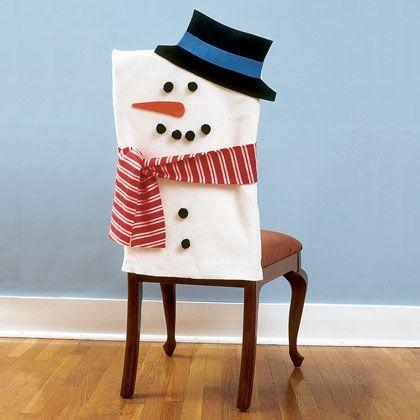Recouvrir une chaise sous forme de bonhomme de neige d couvrir noel pinte - Recouvrir une chaise ...