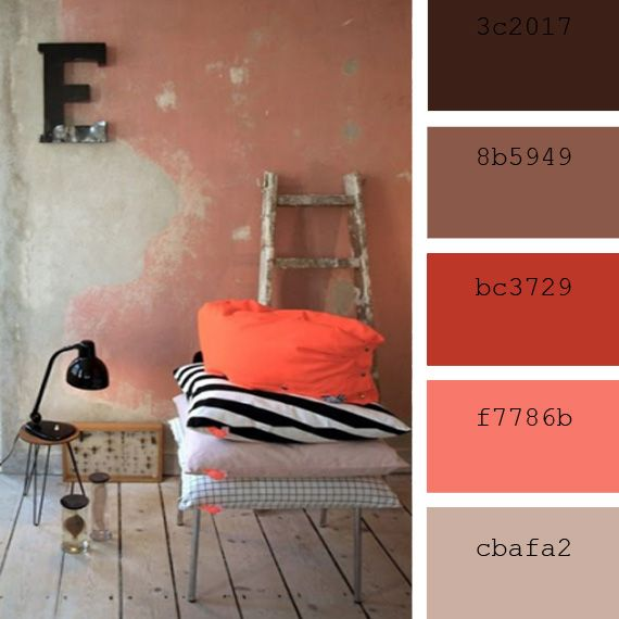 paletas de color para decorar interiores cojines tonos coral