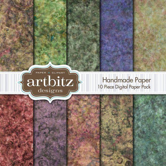 Handmade Paper 10 Piece Marbled Texture Digital Scrapbooking Paper Pack, 12x12, 300 dpi .jpg, Instant Download #marbletexture