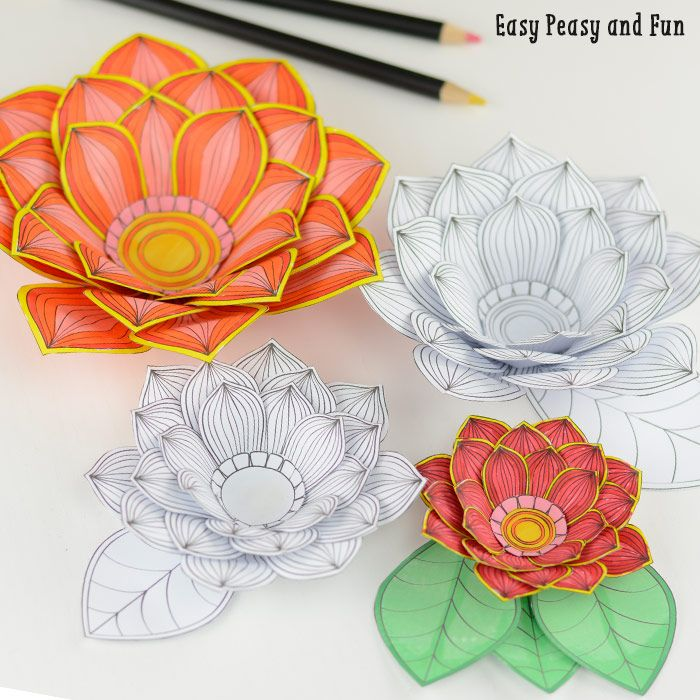 Paper Craft Flowers 3d Coloring Pages Stencils Paper Crafts