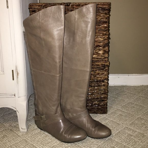f1dbb3eb0dea Chinese laundry leather boots Chinese laundry flat leather boots over the  knee taupe color great condition worn a few times only
