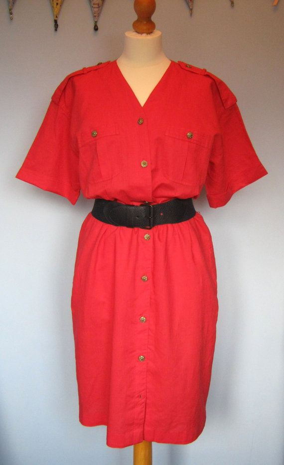 Great Vintage 80's 'Cacharel' Red Linen Day by lostfoundandloved, £25.00