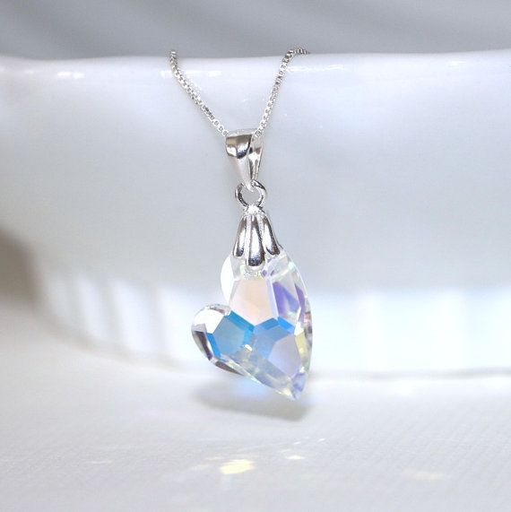 Heart Necklace, Sterling Silver and Swarovski Crystal Heart Necklace, Valentines Gift For Her, Silver Heart Necklace, Bridesmaid Gift