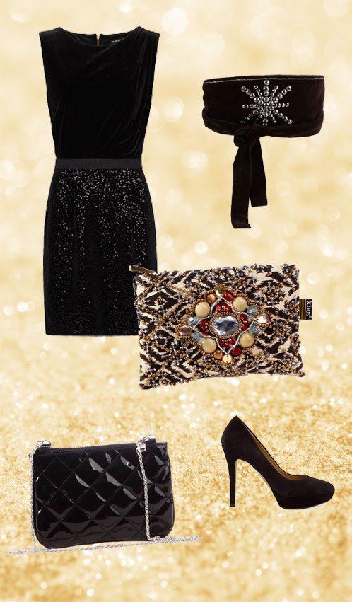 Vestido negro con zapatos de otro color