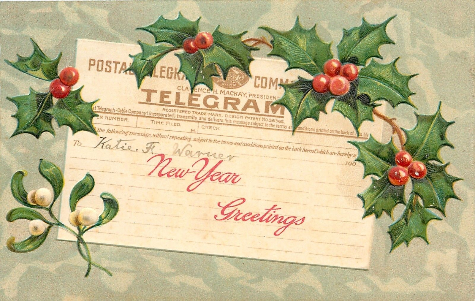 new year postal telegram message greeting mistletoe holly berry mint emboss pfb ebay