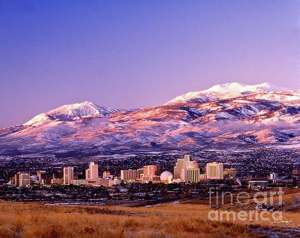 Winter Skyline Of Reno Nevada By Vance Fox Reno Nevada Nevada
