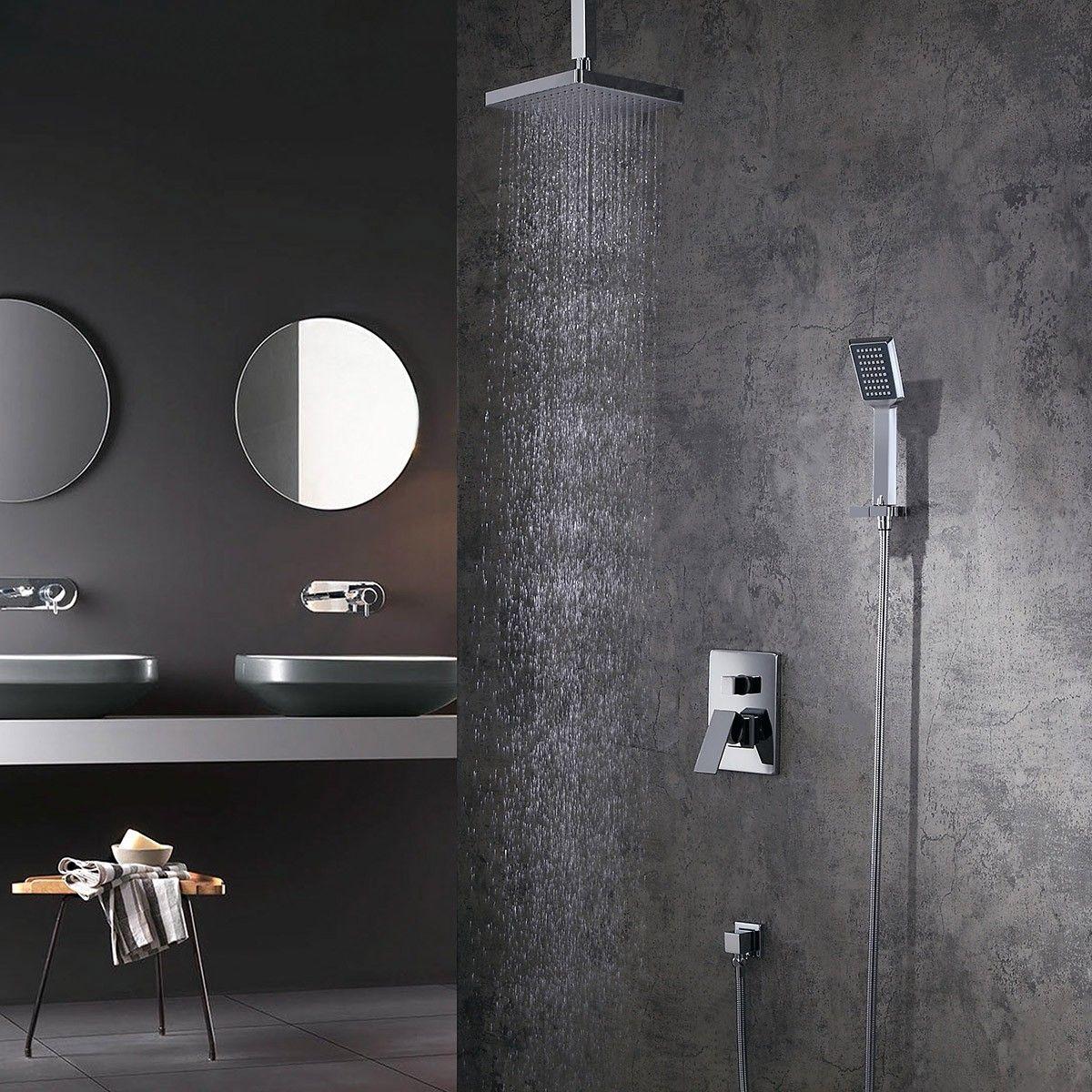 Dree Modern Abs Ceiling Mounted Rain Shower Head Hand Shower Set Single Handle Brass In Polished Chrome Bathroom Remodel Shower Rain Shower Head Contemporary Bathroom Decor [ 1200 x 1200 Pixel ]