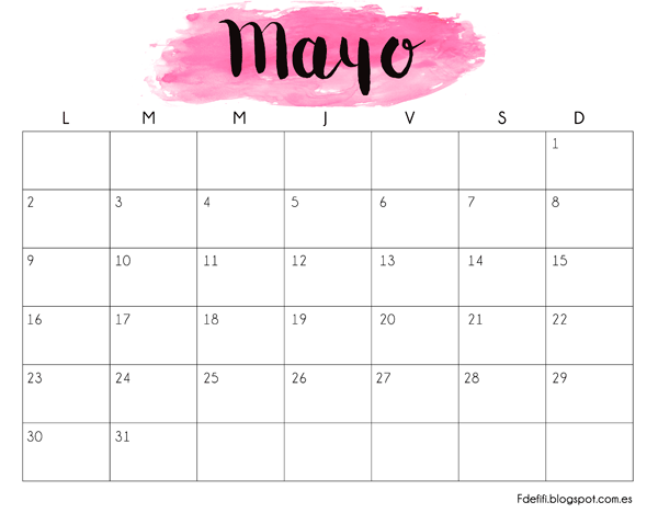 Calendario para descargar e imprimir mayo 2016 mayo for Calendario junio 2016 para imprimir