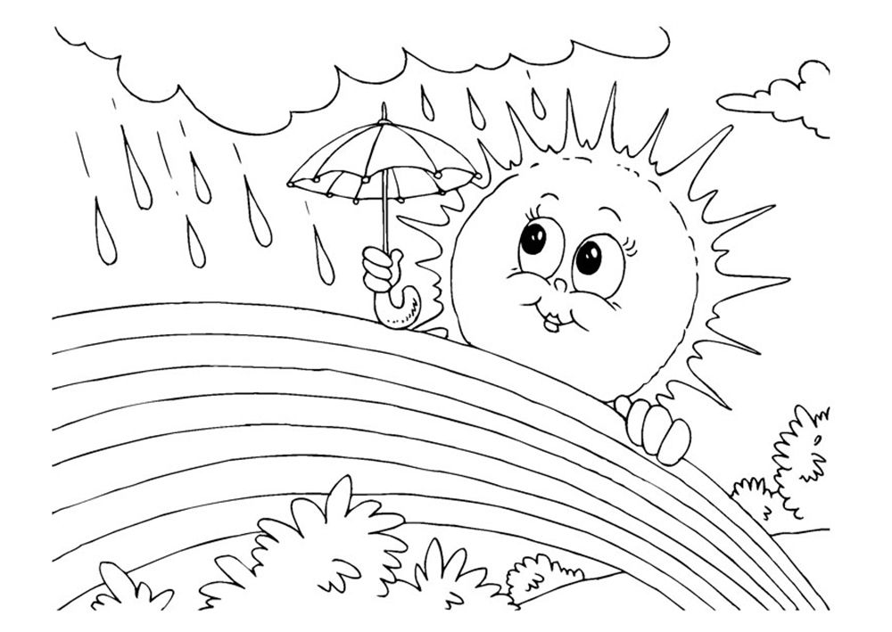 Rainbow And Sun In The Rain Coloring Picture For Kids Coloring