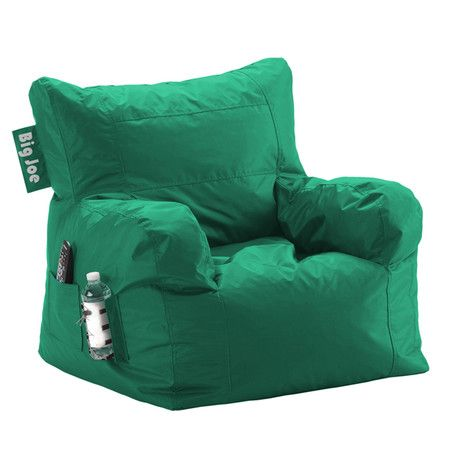 Beanbag Lounge Chair In Emerald With A Drink Holder And Side