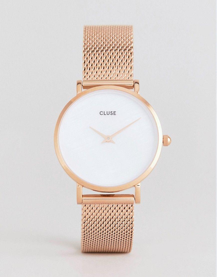 CLUSE CLUSE CL30047 MINUIT LA PERLE MESH WATCH IN ROSE GOLD - GOLD.  cluse   001e641cc3