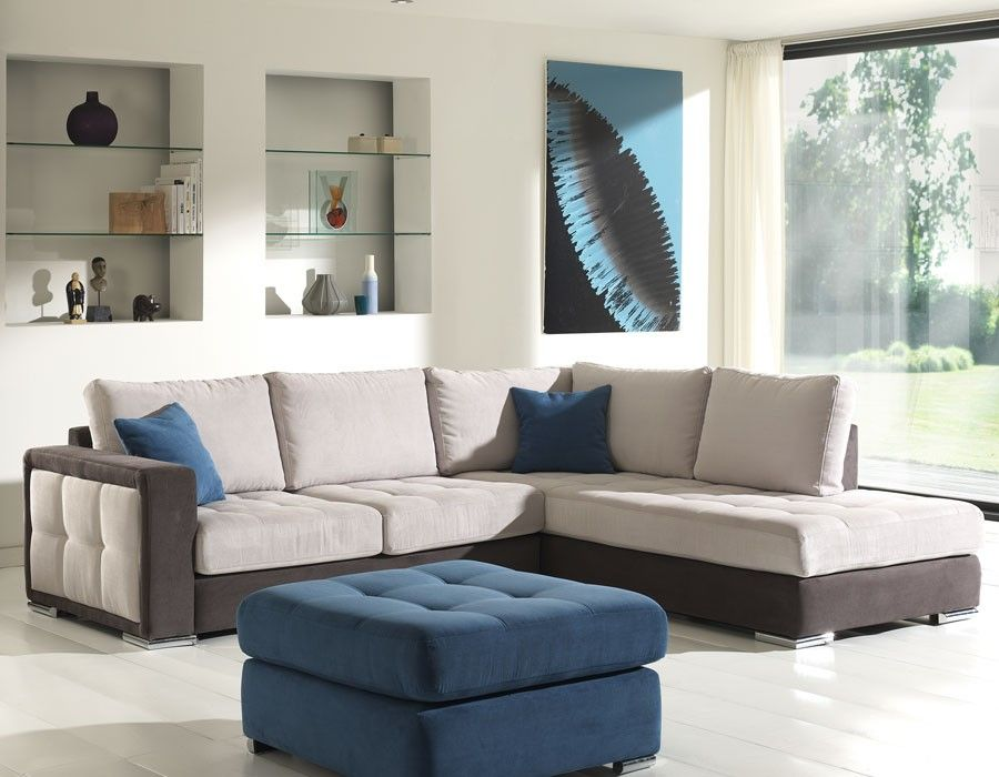 Canape D Angle En Tissu Gris Clair Et Anthracite Belem Home Decor Furniture Sectional Couch