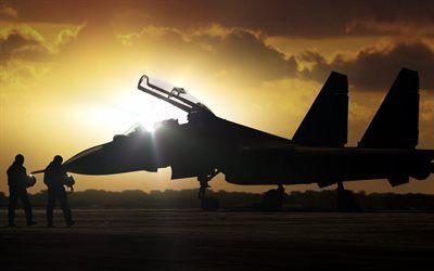 ミリタリー戦闘機夕日背景