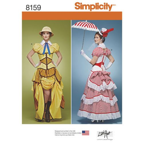 Simplicity Pattern 8159 Misses\' Cosplay Costumes with Corsets ...