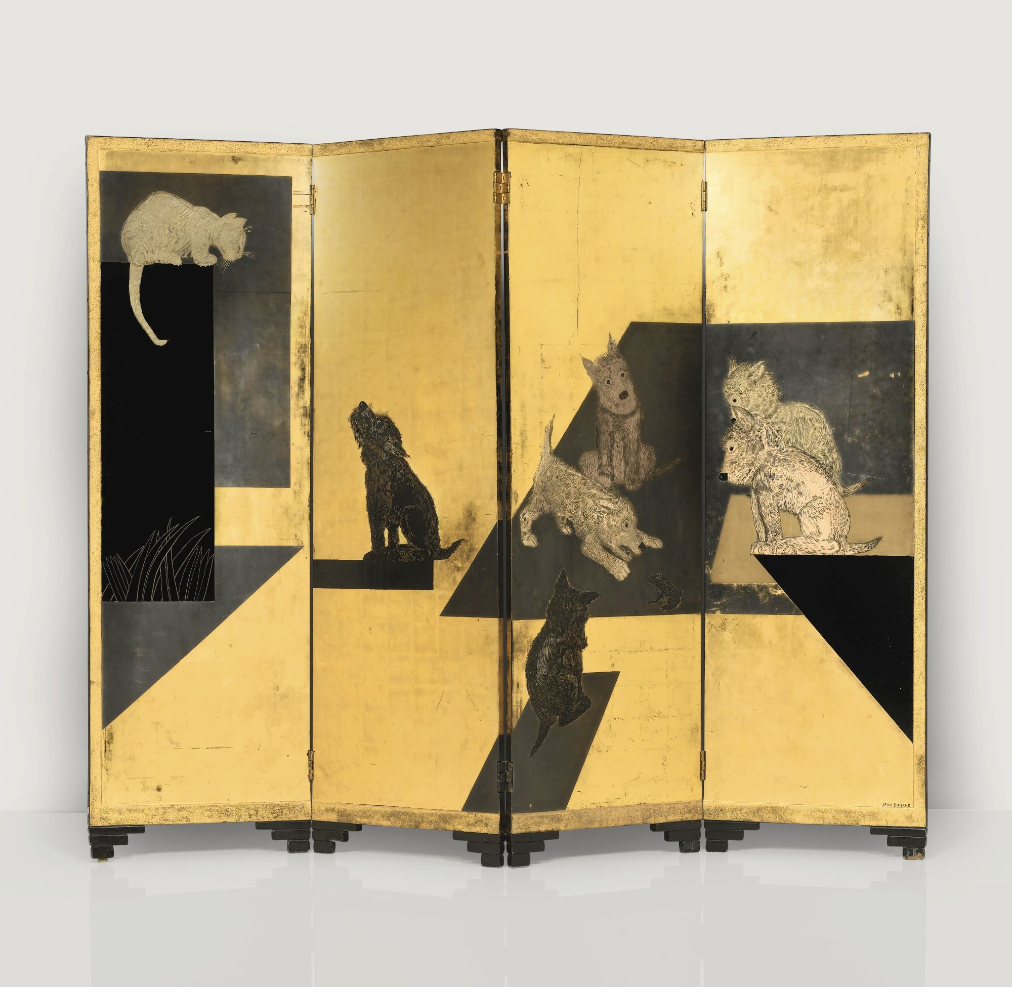 Jean Dunand CHIENS FOUR PANEL SCREEN, CIRCA 1928 lacquered and gilt ...