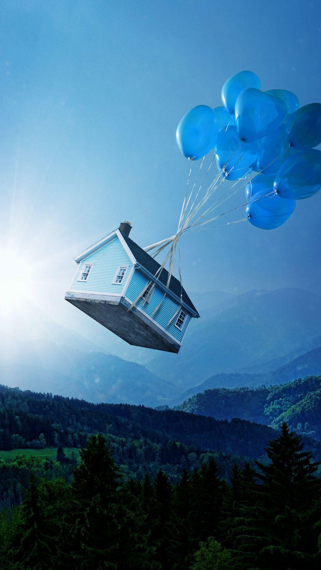 House, balloons, flight, 1080x1920 wallpaper