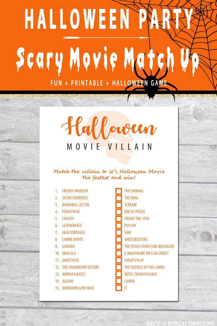 Halloween Movie Match Game Halloween Games Classroom