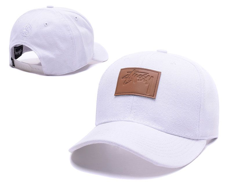 Men s   Women s Stussy Square Stock Logo Leather Patch Curved Dad Hat -  White   Brown c0f5a6475fde