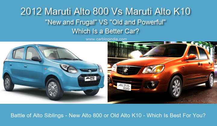 Maruti Alto 800 Vs Maruti Alto K10 Detailed Comparison With