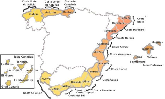 Costas De España Mapa.Mapa De Las Costas Espanolas Lugares De Espana Espana Y