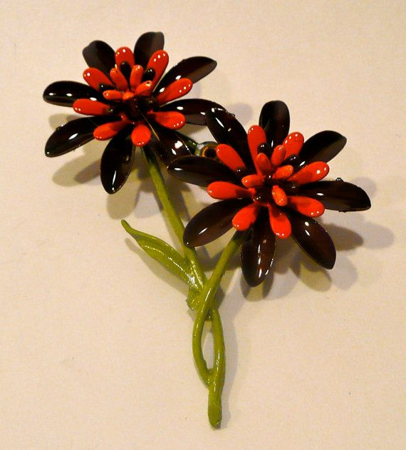 1960's Orange And Brown Floral Brooch by AuntEddiesCloset on Etsy, $12.00