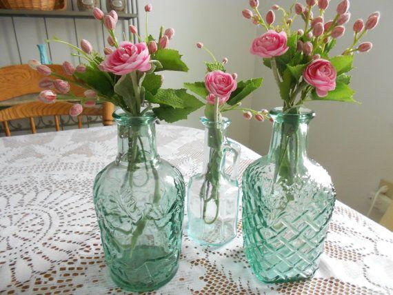 Vintage green bottles wedding vasescollectables home by Primetimer, $12.00