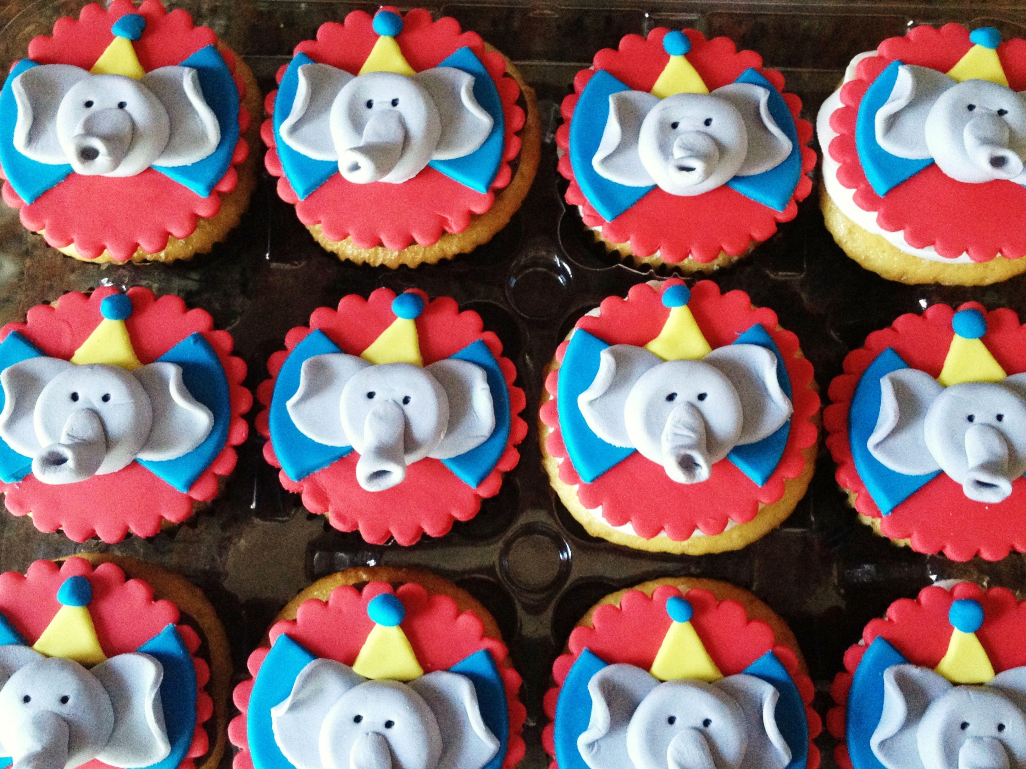 Circus cupcake toppers - elephants!  Http://www.heavenlybitescakes.com