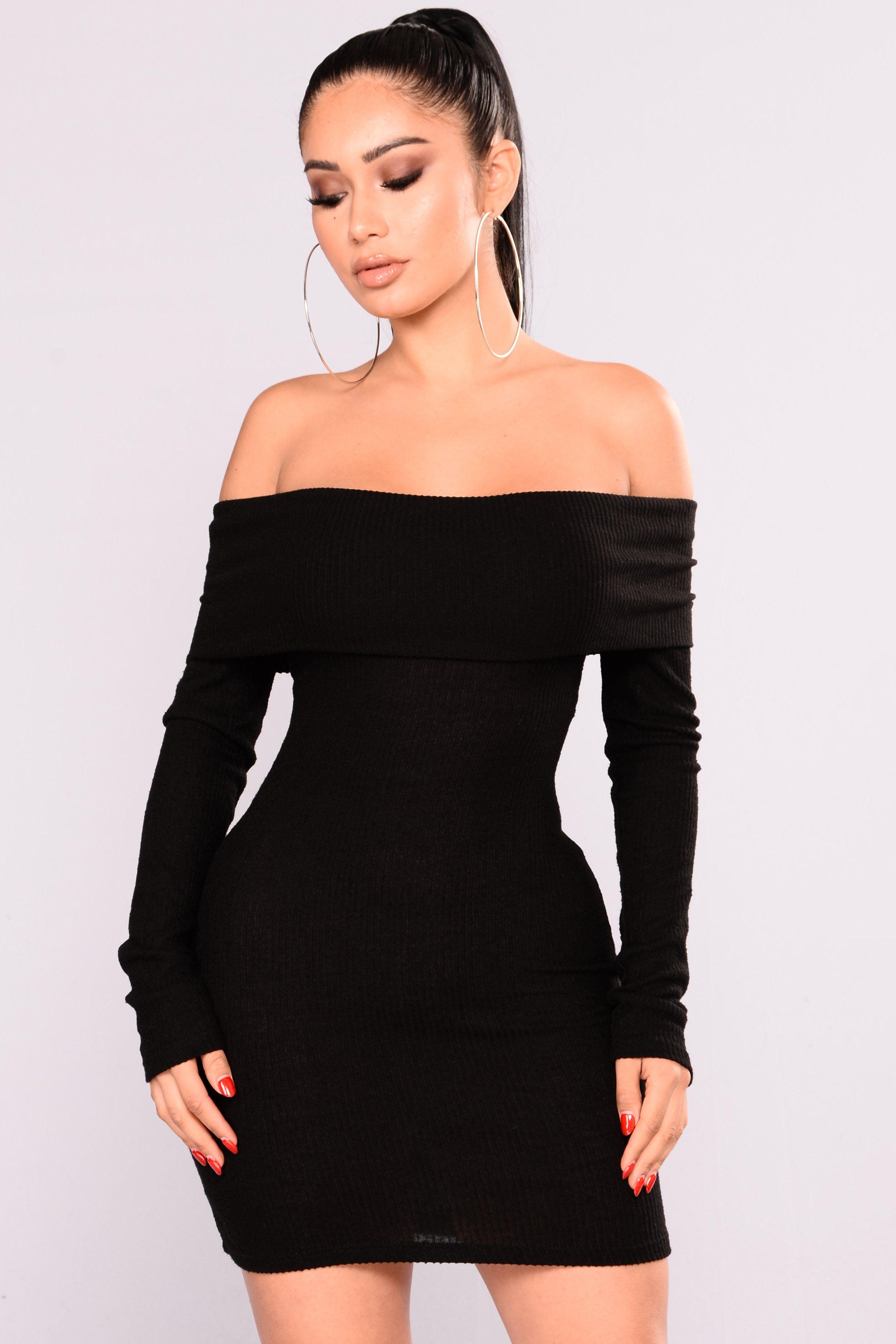 Fallon Off Shoulder Dress Black Black Long Sleeve Dress Fashion Nova Outfits Fashion Nova Dress [ 3766 x 2510 Pixel ]
