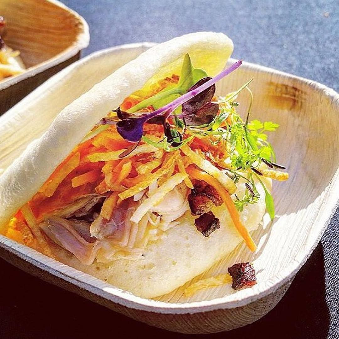 Today only at @heritageeats  Thrilled to be featuring @heritage_chef 's creation: Chicken Bao with Honey Lavender Bacon Crispy Potato and Spicy Korean Chili Sauce... Get it only today while supplies last. #VisitNapaValley by visitnapavalley