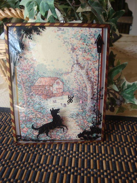 Vintage Reverse Painted Convex Glass by VintageAncestors on Etsy, $7.00