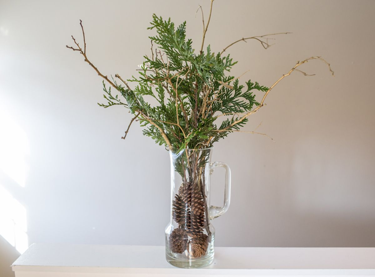 Gold Branch Bouquet W Pine Cone Filler Gold Tree Branch