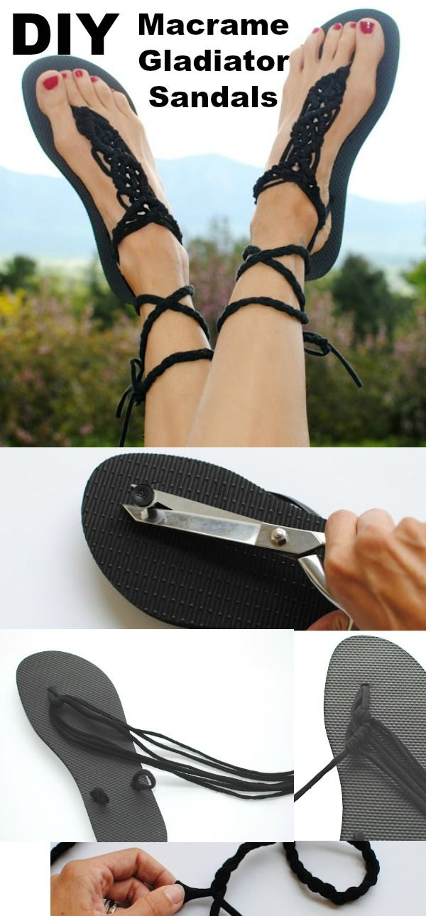 Diy Macrame Gladiator Sandal With Images Diy Sandals Crochet