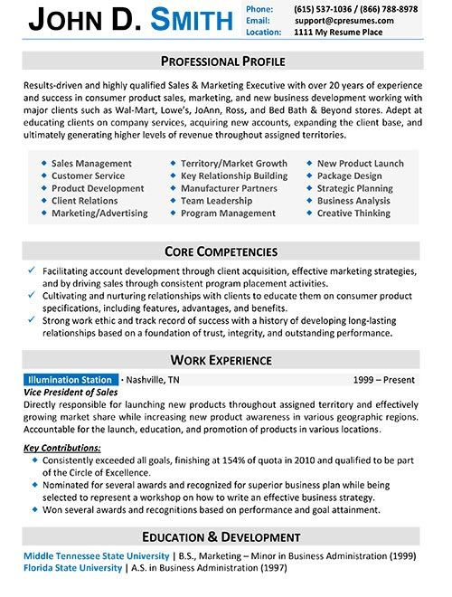 resumes for experienced professionals sample