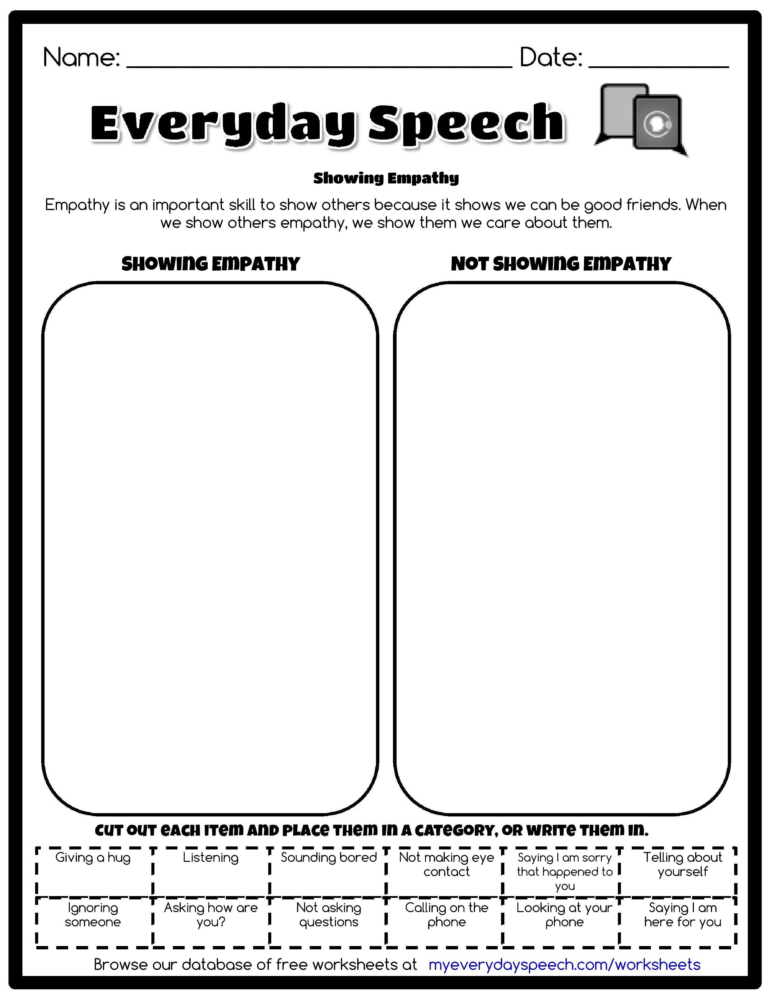 Everyday Speech Worksheet Creator Speech Therapy Worksheets Therapy Worksheets Social Skills [ 3300 x 2550 Pixel ]